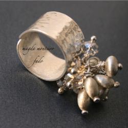 srebro,oryginalny,pierścionek,satynowany,swarovski - Pierścionki - Biżuteria