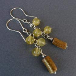 delikatne ze złotym koralem - Kolczyki - Biżuteria