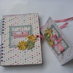 notes i kartka w kropeczki,ręcznie zdobione - Komplety - Akcesoria