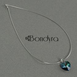 naszyjnik,srebro,swarovski,serce,niebieskie - Naszyjniki - Biżuteria