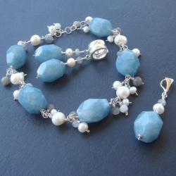 komplet,kolczyki,bransoletka,kwarc,perły - Komplety - Biżuteria