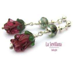 kwiatowe kolczyki,lampworki,z lampworkami,kwiat - Kolczyki - Biżuteria