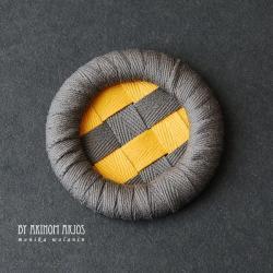 bawełna,broszka,koło,taśma,duża,guzik - Broszki - Biżuteria