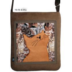 torba,zamsz,kot,beżowy,brązowy,a4,koty - Na ramię - Torebki