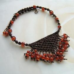 indianski,makramowy,pleciony naszyjnik, - Naszyjniki - Biżuteria