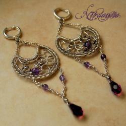 półksiężyce,kolczyki z ametystami,wire -wrapping - Kolczyki - Biżuteria