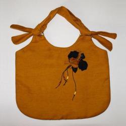 pojemna torba,płótno,pomarańczowa,na ramię,kwiaty - Na ramię - Torebki