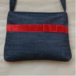 torebka,dżins,aksamit,czerwony,kokarda - Na ramię - Torebki