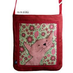torba,zamsz,kot,czerwony,kwiaty,zielony,a4 - Na ramię - Torebki