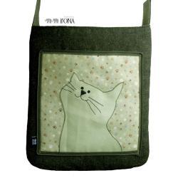 torba,a4,kot,zielony,łapki - Na ramię - Torebki