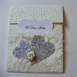 kartka ślubna,ręcznie robiona,serca,pudełko - Kartki okolicznościowe - Akcesoria