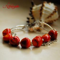 bransoletka z koralami,srebrna,łańcuszki - Bransoletki - Biżuteria