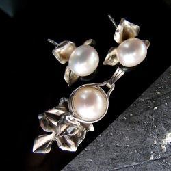 srebro,kobiece,eleganckie,perły,oksydowane, - Komplety - Biżuteria