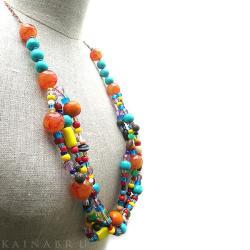 korale,naszyjnik,kolorowy,szkło,drewno,kobiecy - Naszyjniki - Biżuteria