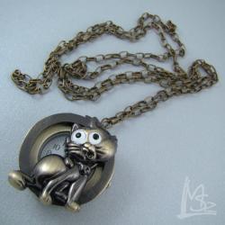 kiciuś,kot,zegarek - Naszyjniki - Biżuteria