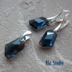 komplet z kryształami Swarovski,granatowy,montana - Komplety - Biżuteria