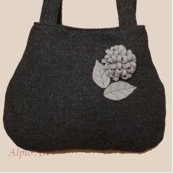 torebka,szara,wełna,kwiat,na ramię - Na ramię - Torebki