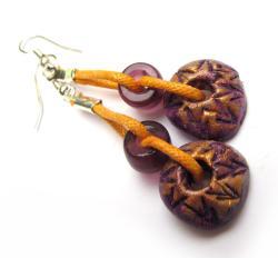 etno,glina,kolor,sznurek,lekkie,szkło,kolczyki - Kolczyki - Biżuteria