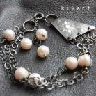 Bransoletki bransoletka,perły,ecru,ślub,srebro,kwiaty