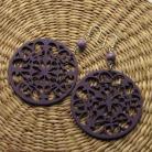 Kolczyki fioletowe koronkowe kolczyki z drewna