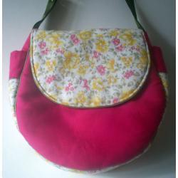 torebka na ramię,na skos,len,róż,kwiaty,pojemna - Inne - Torebki