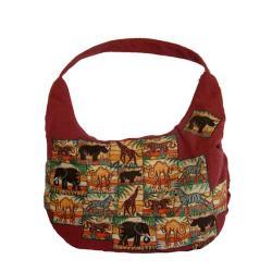 brązowa torebka,afrykańskie motywy,pojemna,a4 - Na ramię - Torebki