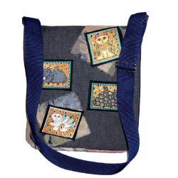 torba,listonoszka,z kotem,niebieska,jeansowa - Na ramię - Torebki
