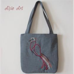 haftowana torebka,rajski ptak, - Na ramię - Torebki