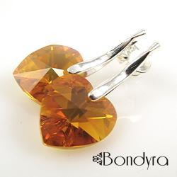 serce,swarovski,kryształowe,topaz,kolczyki - Kolczyki - Biżuteria