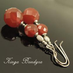 kolczyki,kobiece,delikatne,czerwone,karneol - Kolczyki - Biżuteria