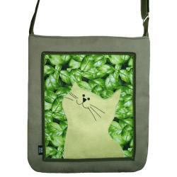 torba,a4,kot,zielony,liście,zamsz,pojemna - Na ramię - Torebki