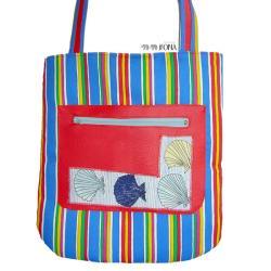 kolorowa torba,czerwony,niebieski,skóra,pojemna, - Na ramię - Torebki