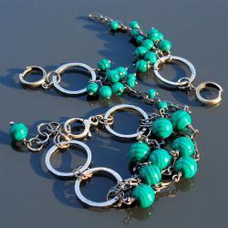 komplet z malachitem,oryginalny - Komplety - Biżuteria