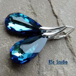 kolczyki,kryształy Swarovski,bermuda blue - Kolczyki - Biżuteria