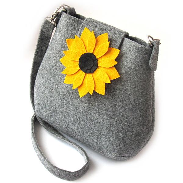5fde8374372fb filc,kwiat,torebka,na ramię,żółty,szary,słonecznik - Na ramię ...