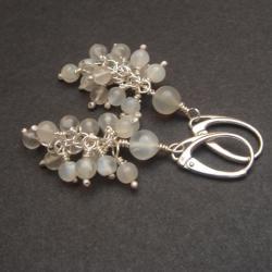 kolczyki,gronka,kamień księzycowy - Kolczyki - Biżuteria