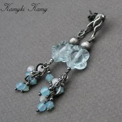 kwatowe,z gronkiem,srebrne,błękitne,wiosenne - Kolczyki - Biżuteria