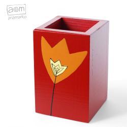 pudełko,długopiśnik,na przybory,anamarko,tulipan - Pudełka - Wyposażenie wnętrz