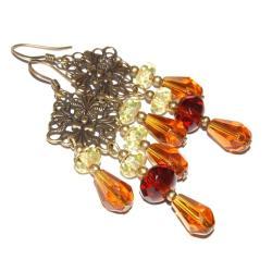 bursztynowe kolczyki,gradient,antyczne,kryształowe - Kolczyki - Biżuteria