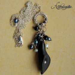 naszyjnik z kalią,perłami,onyksami - Naszyjniki - Biżuteria