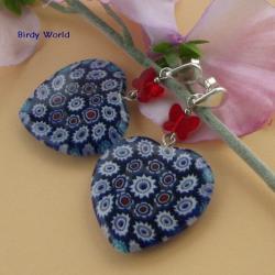 niebanalne kolczyki z sercami z millefiori - Kolczyki - Biżuteria