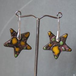 kolczyki z ceramiką,kolczyki kolorowe,gwiazdki - Kolczyki - Biżuteria