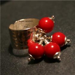 srebro,pierścionek,koral,czerwony - Pierścionki - Biżuteria