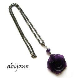 ametystowa róża,elegancki,efektowny,srebro - Naszyjniki - Biżuteria