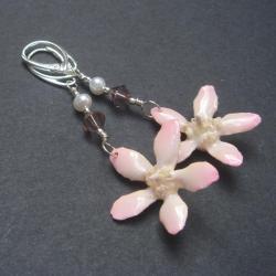 różowe storczyki,kolczyki srebne,unikatowe - Kolczyki - Biżuteria