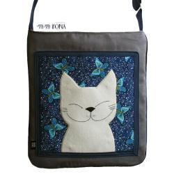 torba,kot,zamsz,szary,granatowy,motyle,a4 - Na ramię - Torebki