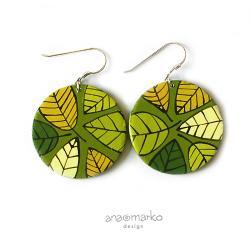 kolczyki,koła,kółka,liście,zielone,listki - Kolczyki - Biżuteria