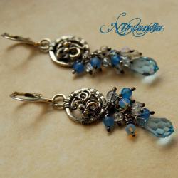 azurowe kolczyki,malutkie,z niebieskim onyksem - Kolczyki - Biżuteria