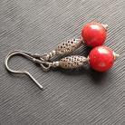 Kolczyki kolczyki,czerwone,koral,oksydowane,kule
