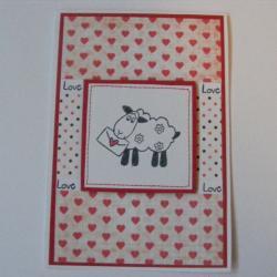 kartka walentynkowa,kartka z owcą - Kartki okolicznościowe - Akcesoria